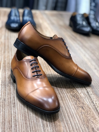 Cognac leather shoes 67308 Our selection