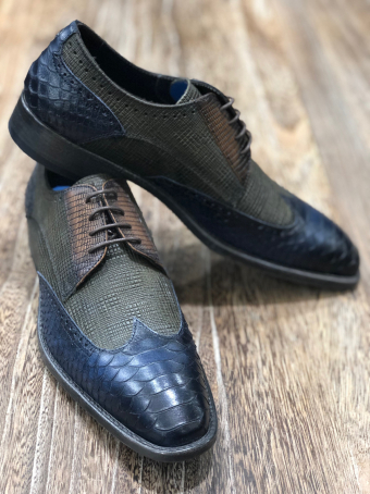 Croco-style tri-material shoes Our selection
