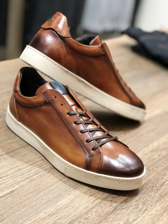 Brown hand patinated sneakers Our selection